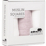 Les Enfants pack of Muslin squares, 2 whites & 1 pink