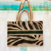 jute-tasche-zebra-black-green-xxl-crazycreative.de-by-gabriele-van-de-flierdt