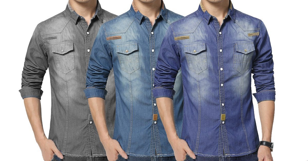 d0aa66c6db65 3 Double Pocket Stylish denim Solid Comfortable Shirts for Men – ramtraders