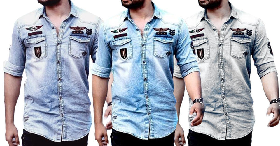 20247b695540 New Double Pocket Solid Denim Shirts for Men Combo of 3 – ramtraders