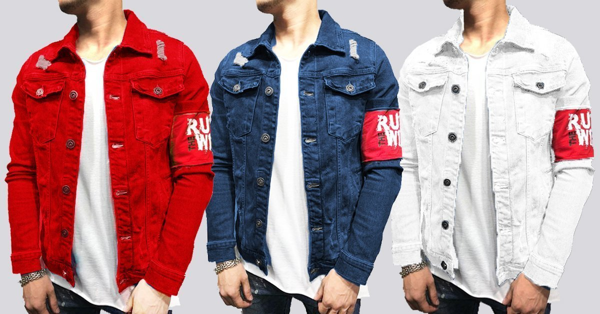 19e45d29b90a Fashion Men‰ۡó»s Denim Jean Slim Fit Solid Button Double Pocket Shirts –  ramtraders