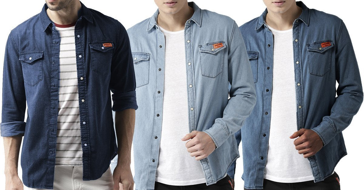 4c534779d426 Pack Of 3 Denim Stylish Solid Comfortable Shirts for Men – ramtraders