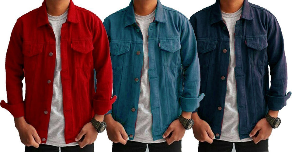 ef23b5f0ab89 ... Pack of 3 Double Pocket Stylish Denim Solid Comfortable Shirts for Men  ...