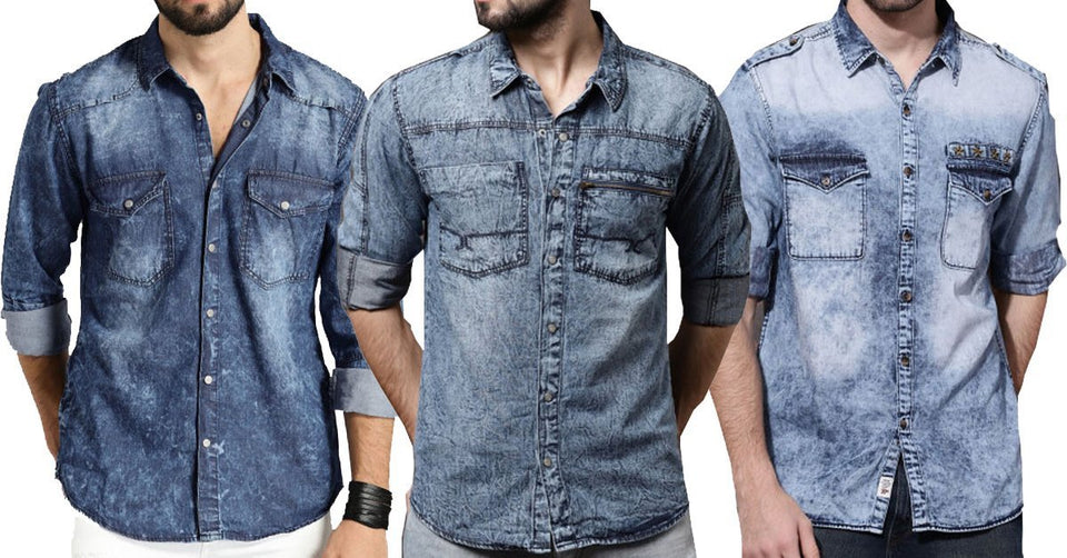 49a17d158af8 ... High Quality Branded Classic Styles Washed Denim Shirts for Men Pack of  3 ...