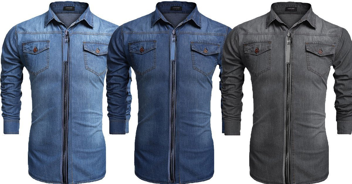 8f4456c30490 Zipper Double Pocket Stylish Denim Solid Comfortable Shirts for Men Pa –  ramtraders