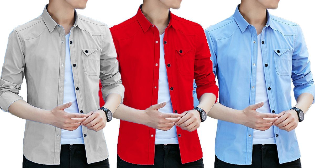 3dfcdd01da53 Pack of 3 casual Stylish Solid Comfortable Shirts for Men – ramtraders