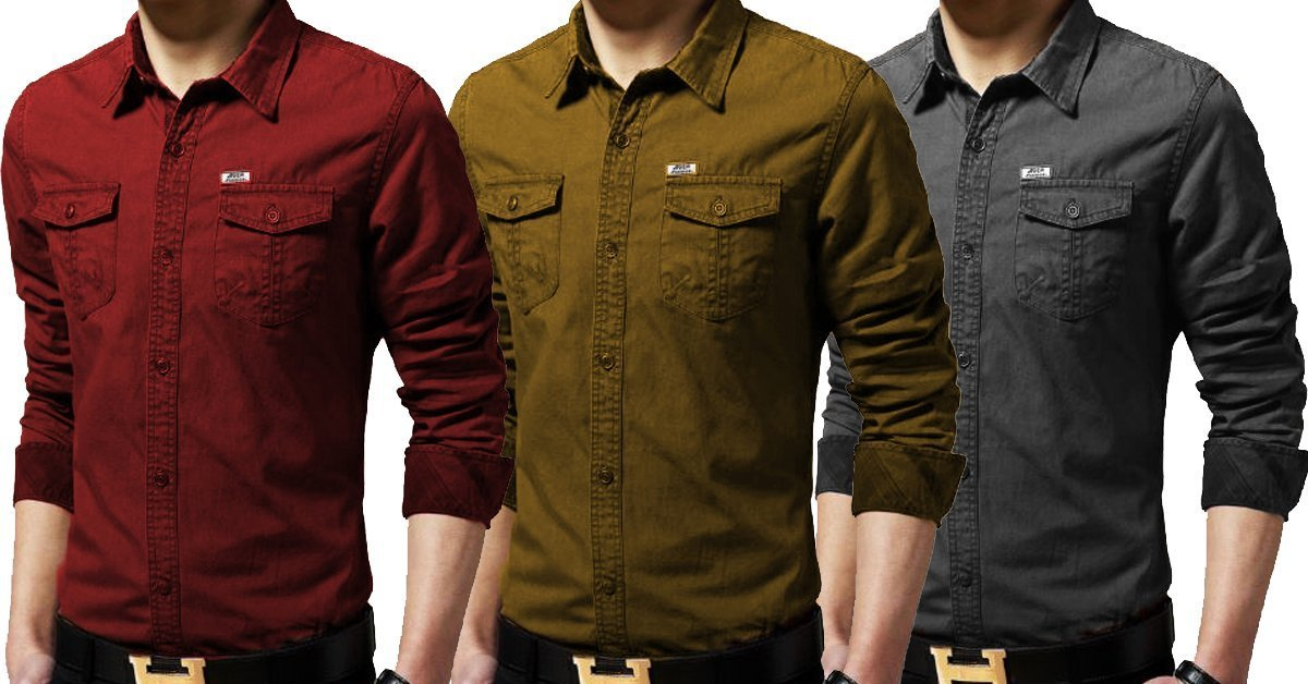 995164ee3112 Cotton Double Pocket Stylish Denim Solid Comfortable Shirts for Men Pa –  ramtraders