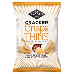 Jacob's Cracker Crisps Thins Mature Cheddar and Roasted Onion Best Before 28/12/2019