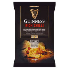Burts Guinness Thick Cut Hand Cooked Potato Chips Rich Chilli 40g