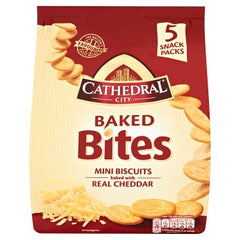 Cathedral City Baked Bites Mini Biscuits Baked with Real Cheddar 5 Snack Packs 110g