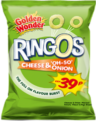 Golden Wonder Ringos Cheese & Onion Best Before : 16.11.2019