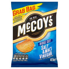 McCoy's Salt & Malt Vinegar Flavour Ridge Cut Potato Crisps 47.5g