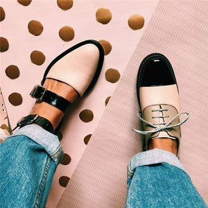 Color Blocking Chic  Buckle Flat Sandal - getanne