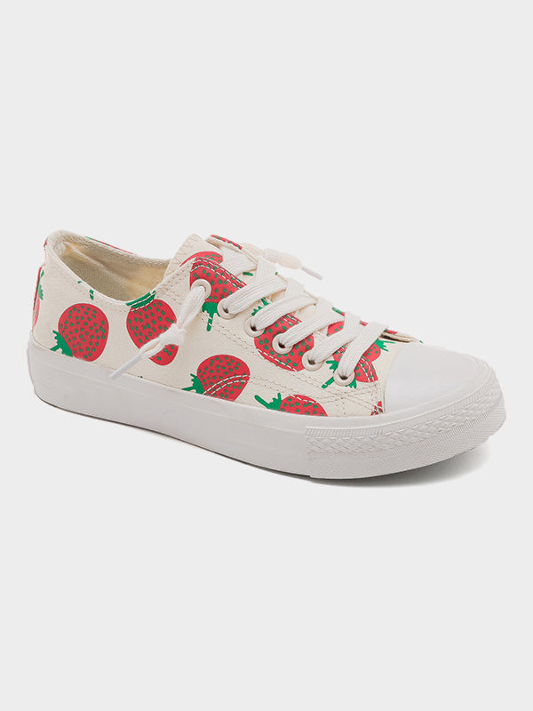2019 Spring New Casual Strawberry Canvas Shoes