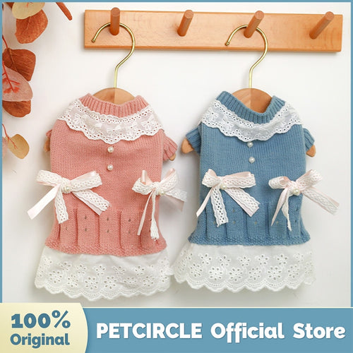 PETCIRCLE New Dog Puppy Clothes Ladies Wool Dress Pet Cat Fit Small Dog Spring and Autumn Pet Cute Costume Dog Cloth Dog Skirt