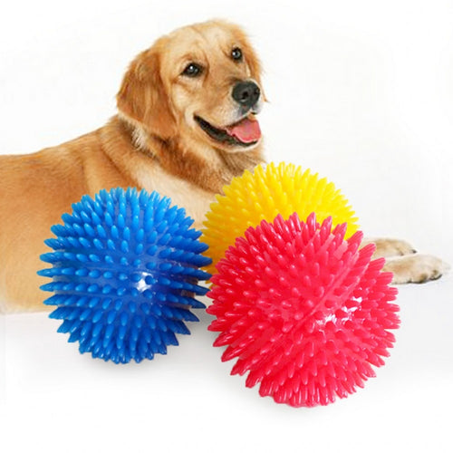 TPR Pet Dog Ball Squeak Dog Toys For Golden Retriever Large Dogs Spiked Ball Super Elastic Sound Chew Tooth Cleaning Puppy Toy