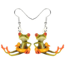 Load image into Gallery viewer, Bonsny Acrylic Cute Duck Buoy Frog Earrings Dangle Drop Big Long Cartoon Animal Jewelry For Women Girls Teen Fashion Charms Gift