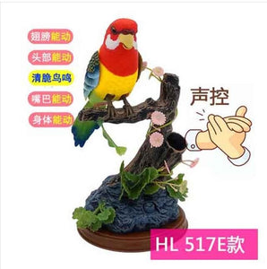 Pet Bird Toy Talking Bird Family Pet Bird Pet Bird Cage Electric Voice Control for Children's Birthday Gifts