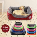 S-3XL Fleece Dog Bed Paw Pattren Waterproof Bottom Pet Sofa Mat Warm Dog Beds For Large Dogs
