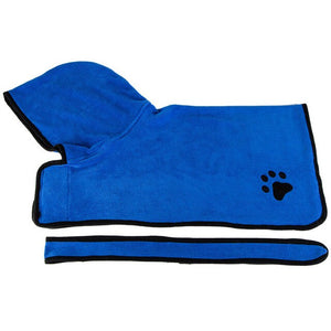 Pet Dog Cat Bathrobe Soft Quickly Absorbing Water Fiber Pet Drying Towel Robe With Hat Pupuy Cat Pet Grooming Supplies
