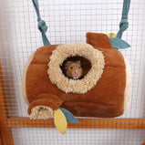 Plush Stump Hamster Tunnel Hammock Hanging Nest Soft House Bed Cage For Mini Animal Small Pet Mice Rat Nest Bed