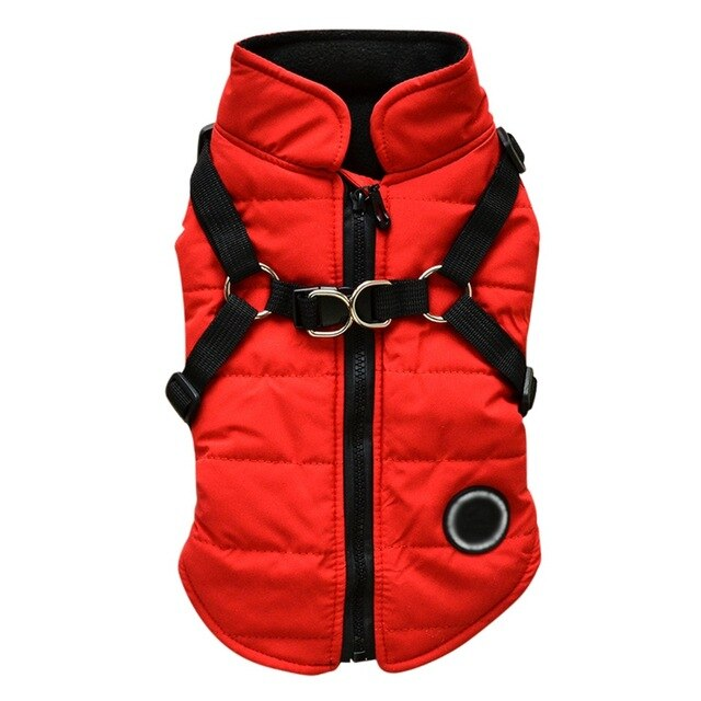 Waterproof Pet Dog Pup Vest With Harness Jacket Chihuahua Clothing Warm Winter Dog Clothes Coat For Small Medium Large Dogs