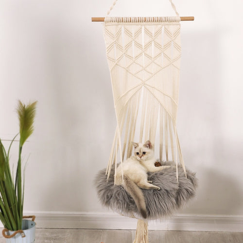Hand-Woven cat Hanging Basket Swing, Pet cat Flower Mesh Basket Cage Hanging Nest Swing Bed Hammock Toy Washable,  All Seasons