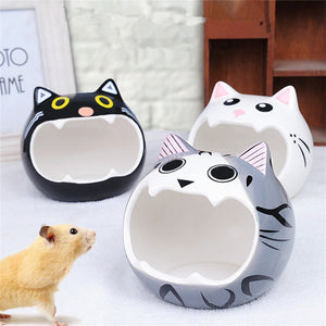Cute Hamsters Ceramic Nest Hamsters Cave Pet House with Cat Head Pattern Design Suitable for Small Pet Chinchilla