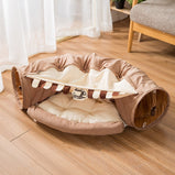 Cotton cat bed cat tunnel foldable, soft and comfortable, with ball, pets don't get bored fun interactive game toys