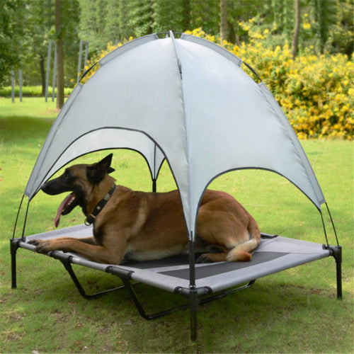 Pet Bed With Canopy Portable Dog Camp Tent Raised Dog Bed With Sun Canopy Double-layer Camp Tent for Dogs Cats Outdoor Camping