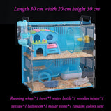 Blue Double Hamster Cage Large Size Dutch Pig Cage Acrylic Pet Nest Small Pet with 30x20x30cm