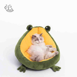 Pet Cat's House Indoor Frog Cat Bed Warm Small Dogs Beds Portable Kitten Mat Soft Cute Sleeping Loungers Window Bag Products