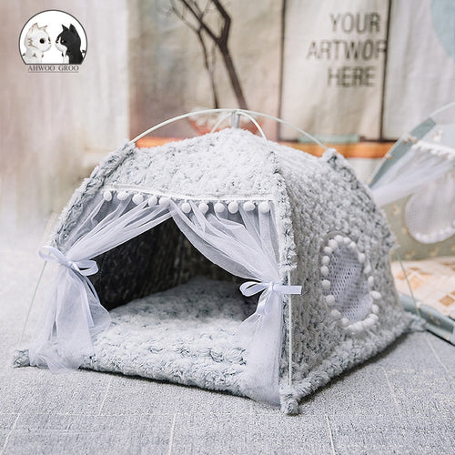 Sweet Princess Cat Bed Foldable Cats Tent Dog House Bed Kitten Dog Basket Beds Cute Cat Houses Home Cushion Pet Kennel Products
