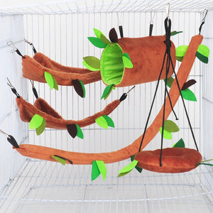 Ropeway Nest Forest Hamster Hammock Soft Toys Leaf Tunnel Toy House Warm Cage Pet Stump Small Pet Toy