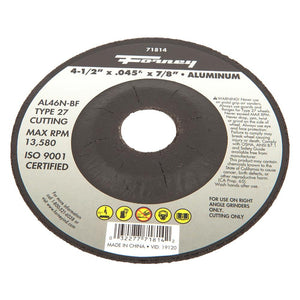 "Cut-Off Wheel, Aluminum, Type 27, 4-1/2"" x .045"" x 7/8"""