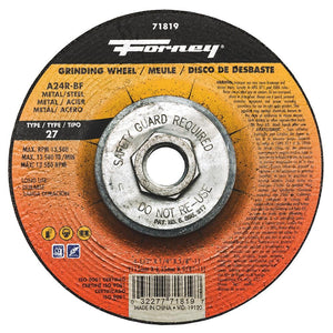 "Grinding Wheel, Metal, Type 27, 4-1/2"" x 1/4"" x 5/8""-11"