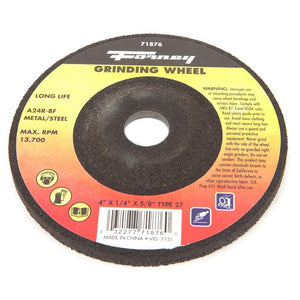 "Grinding Wheel, Metal, Type 27, 4"" x 1/4"" x 5/8"""
