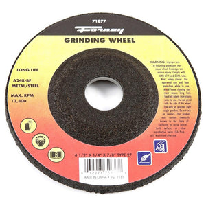 "Grinding Wheel, Metal, Type 27, 4-1/2"" x 1/4"" x 7/8"""