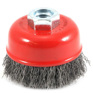"Cup Brush Crimped, 2-3/4"" x .014"" x 5/8""-11 Arbor"
