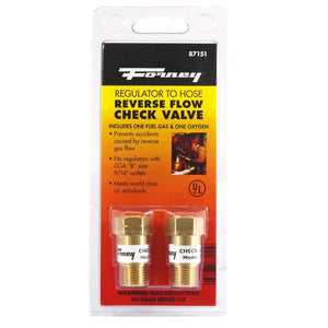 Reverse Flow Check Valves, Regulator-to-Hose, 2-Pack