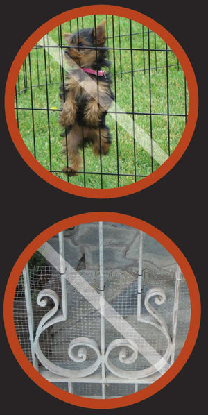 Puppy Panels for Iron or Aluminum Fence - 6 ft or 8 ft Wide, 18 Inches Tall