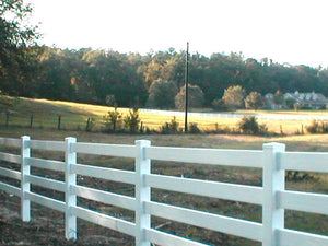 White or Tan Vinyl Horse Fence 496 feet BOTH 3 and 4 Rail Fence with Fence Armor