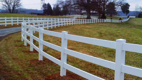 3 Rail White Vinyl Fence Durable - Made In USA