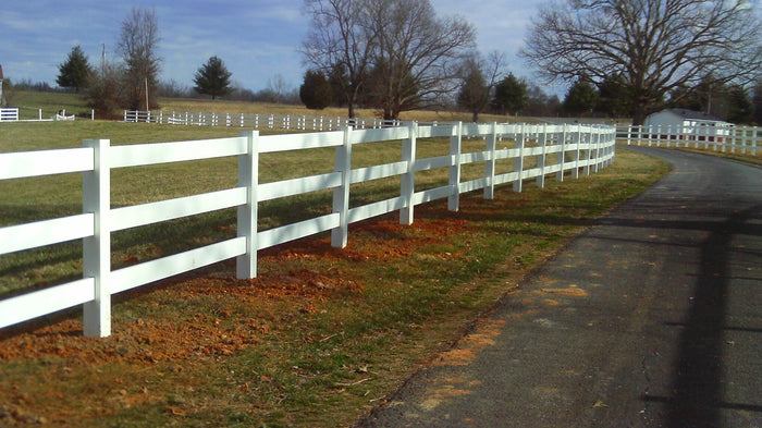 Vinyl Horse Fence 496 feet 3 and 4 Rail Fence with Fence Armor