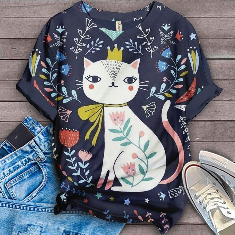 Cat Cartoon Design Art T-Shirt