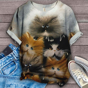 Cat Fluffy Lovely T-Shirt