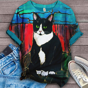 Cat Designed Art T-Shirt