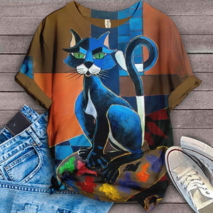 Cat Designed Art T-Shirt 3