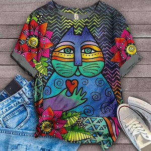 Cat Designed Art T-Shirt 9