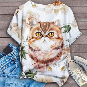 Cat Floral Urban T-Shirt 4